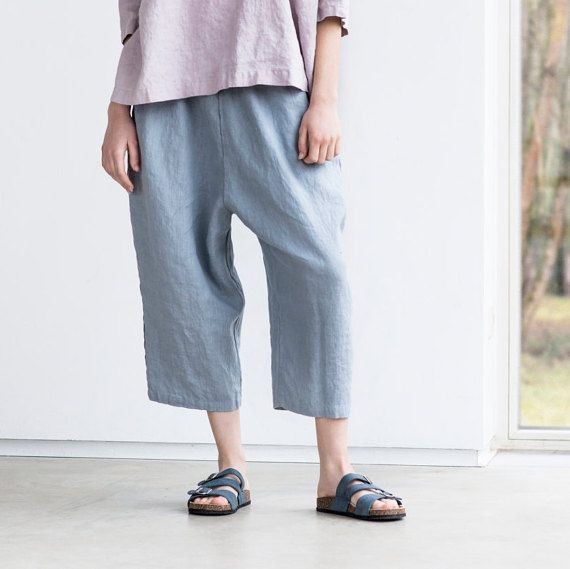 Light elephant grey loose linen pants with deep pockets / japanese style linen trousers