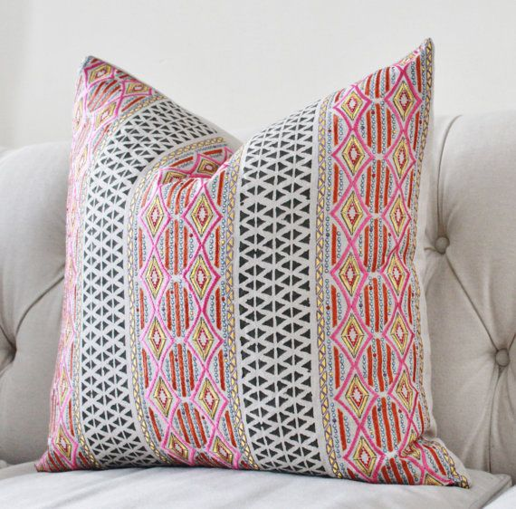High End Designer Throw Pillows Part - 39: Pink Geometric Pillow Cover - Designer Pink Orange Gold Silver Embroidered  Moroccan Block Print Pillow Cover