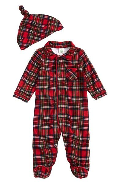0890cb821 Main Image - Little Me Plaid Footie Pajamas & Hat Set (Baby Boys ...