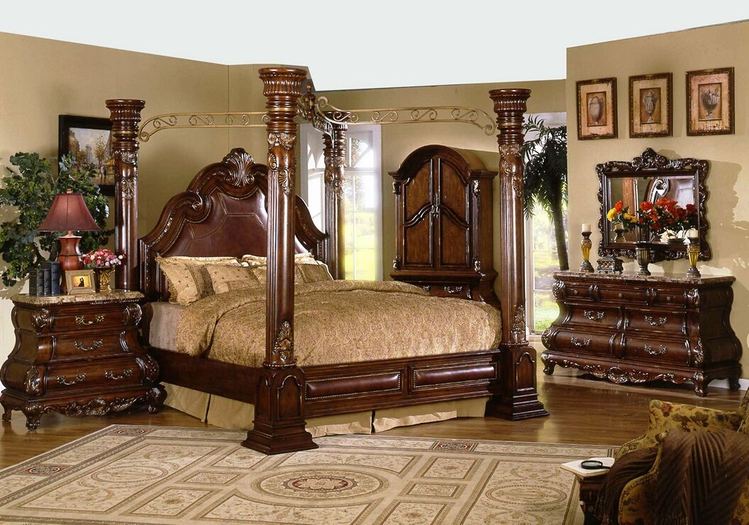5 Pc Princess Anne II Collection Cherry Brown Wood Finish Queen 4 Poster  Canopy Bedroom Set