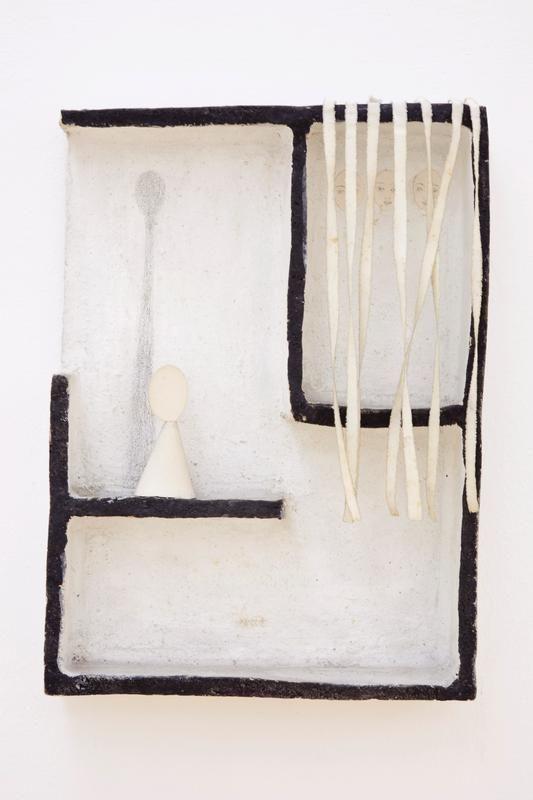 FAUSTO MELOTTI LE OMBRE (THE SHADOWS) 1976 Courtesy : Private Collection. Coloured terracotta, paper, fabrics.