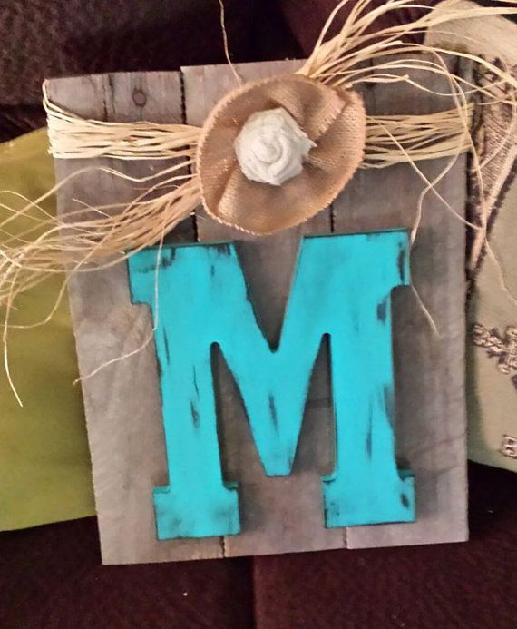 Shabby Chic Repurposed Pallet Wood Sign with Monogram by SuLuGifts