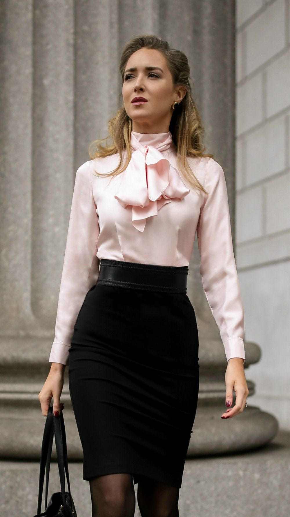 Pink and Black Waist Belt Dress