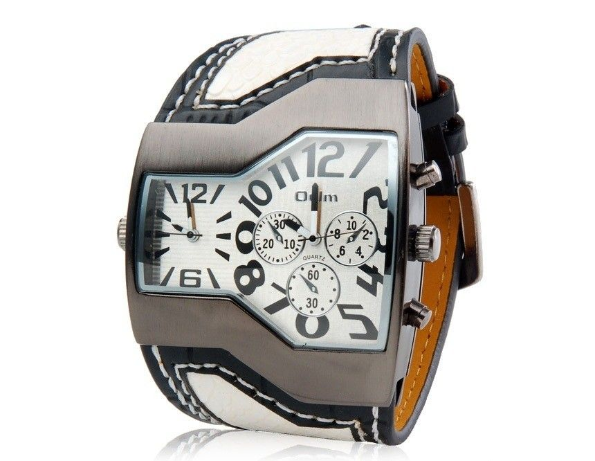 Cool Quartz Wrist Watch Movement Analog Sport Watch with Faux Leather Strap