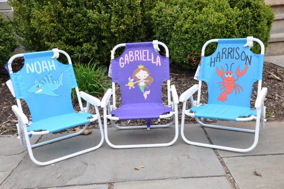 Child S Beach Chair Lawn Chair Personalized Comes With Free Gift With Purchase During July Or August On Etsy 35 00 Beach Chairs Toddler Beach Kids Chairs