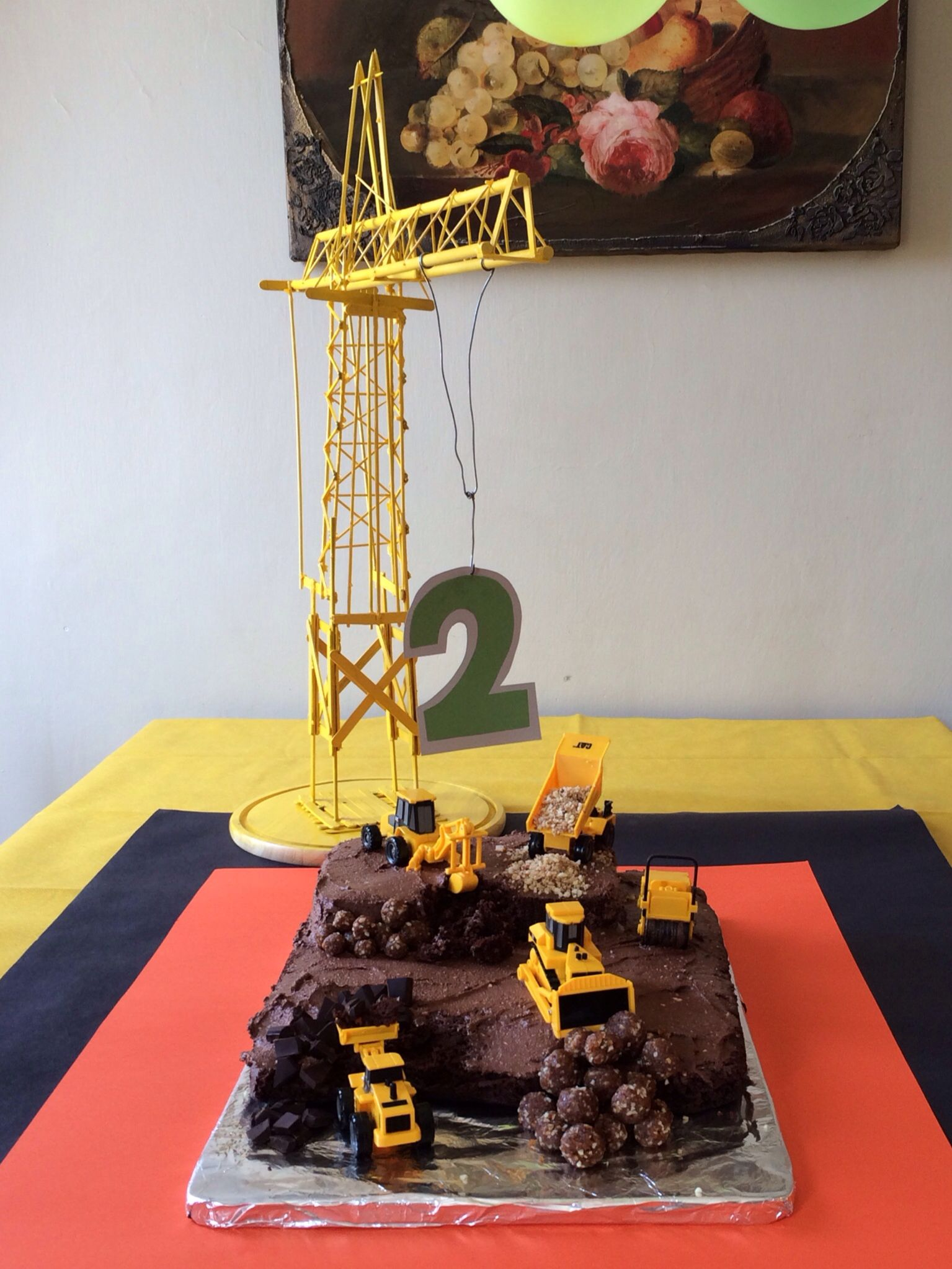Construction Zone Cake For My Sons 2nd Birthday Accompanied By A
