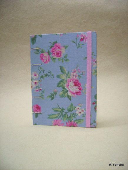 Caderno De Notas Luana Tecido Old Roses Com Capa Em Tecido 100