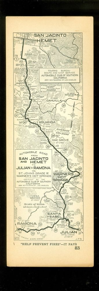 Aaa California Map.1927 Aaa Strip Map Ca Ramona Julian Hemet San Jacinto 83 Ebay