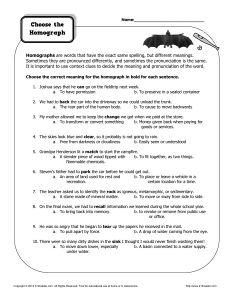Worksheet Choose The Homograph Homographs Homographs Activities Multiple Meaning Words