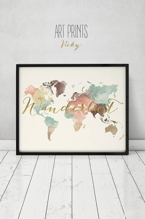 Wanderlust world map pastel watercolor world map poster with faux wanderlust world map pastel watercolor world map poster with faux gold text art print large map travel decor home decor artprintsvicky gumiabroncs
