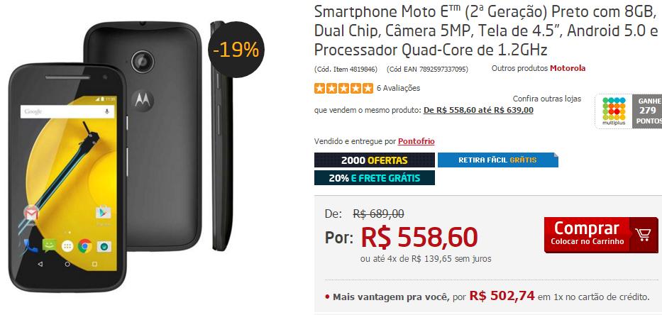 Smartphone Moto E (2ª Geração) 8GB Dual Chip Câmera 5MP Tela de 4.5 Quad-Core de 1.2GHz << R$ 44688 em 10 vezes >>