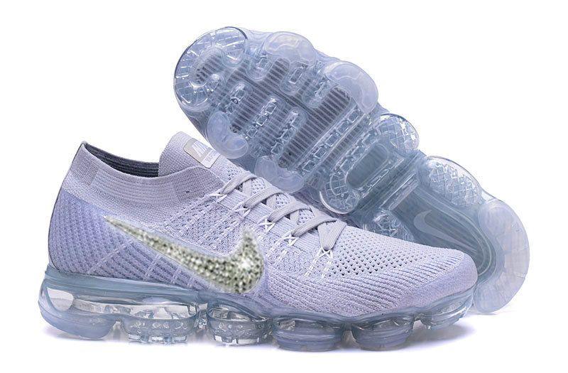Sale 2018 Bling Nike Vapormax Flykint Sale 2018 Wolf Grey Pure Platinum  Uisex Size 36-46 US 10 Glitter Swarovski Crystal Swoosh 1bc6300ee