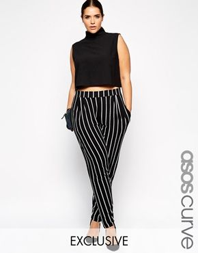 d747faca8e6 ASOS CURVE Exclusive Peg Trouser In Mono Stripe