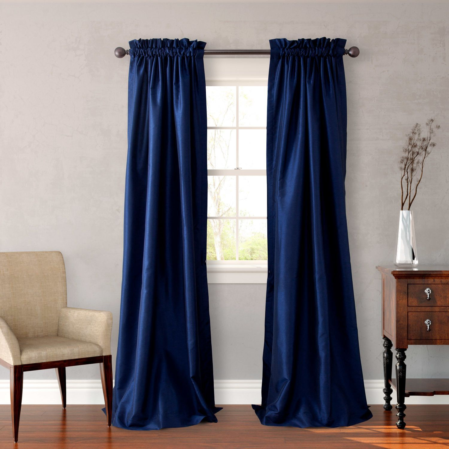 Faux silk curtain panels in navy products pinterest faux silk