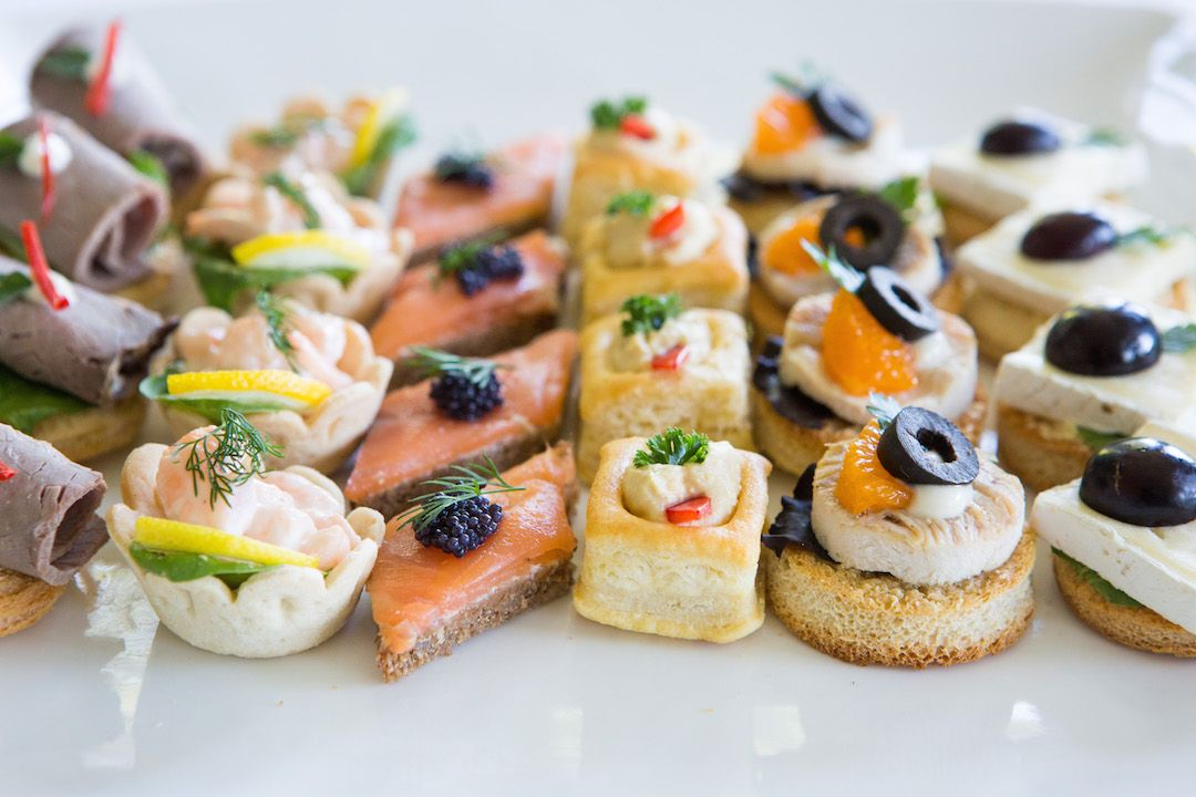 Canape Sandwiches Assorted Canapessandwiches On Plate Over White - Canapes