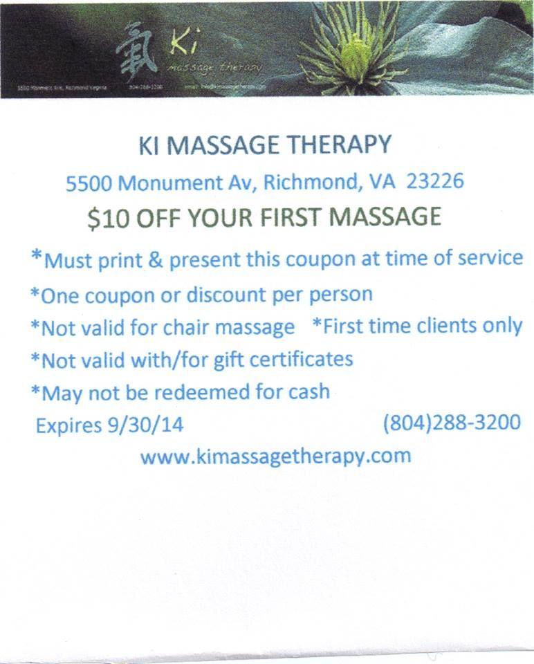 Godt gennem september Richmond, Va Massage Coupon Print-7878