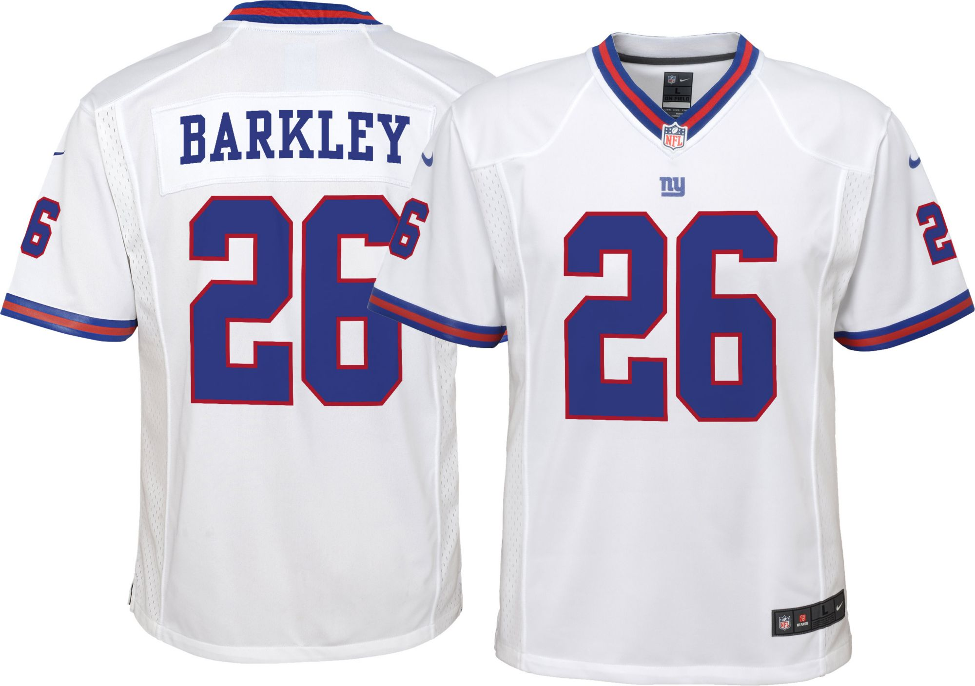 598c03a0ddcea Nike Youth Color Rush Game Jersey New York Saquon Barkley #26, White ...