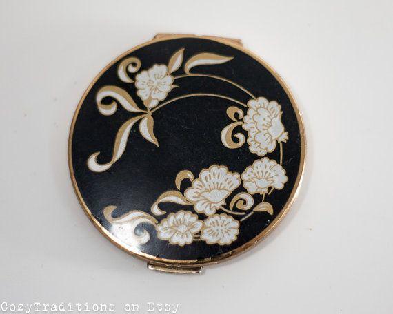 1960's Floral Compact Mirror: Vintage Black & by CozyTraditions