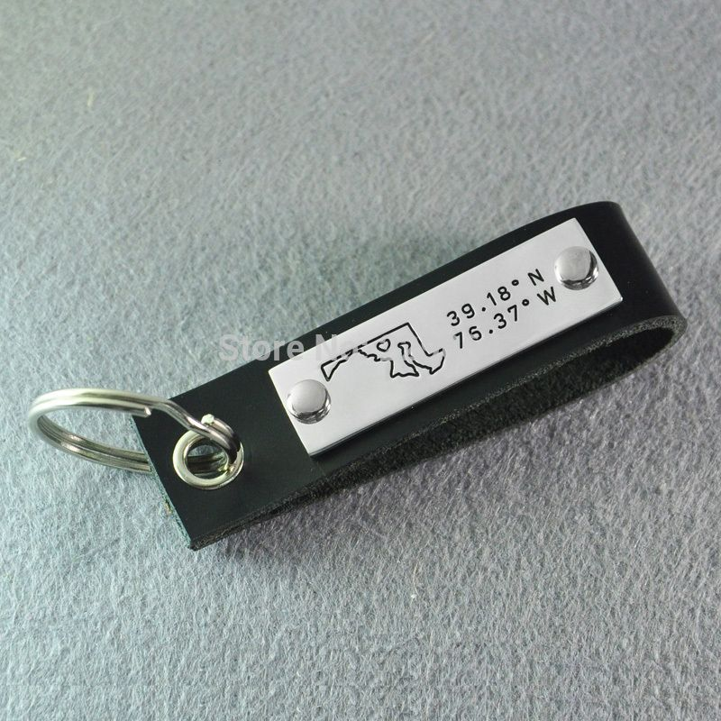Maryland Map Coordinates%0A Find More Key Chains Information about Maryland key chain  Personalized map  key chain  Leather keyring  custom longitude u     latitude  coordinate key  chain