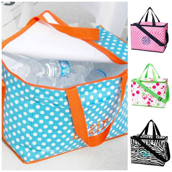 Monogrammed Cooler Bag / Beach Cooler Large Lunch by AbnerCrafts, $24.99
