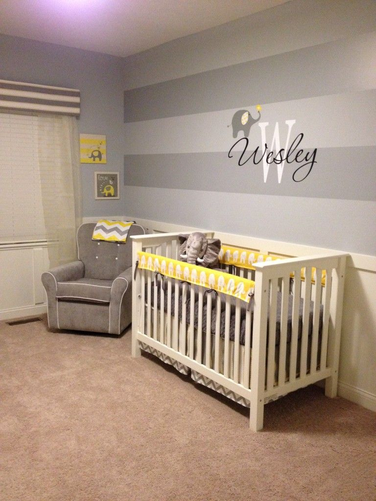 Wesley S Yellow And Gray Elephant Nursery Nursery Accent