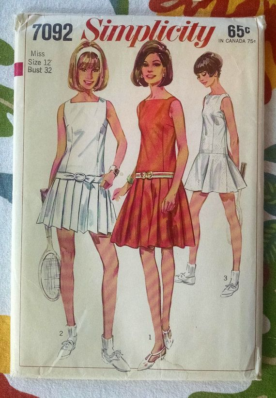 0adca95ed 60s Simplicity 7092 Juniors and Misses Tennis Dress Pattern - Drop-waisted  Dress Pleated or Flared Skirt Size 12, Bust 32 Uncut $7.50
