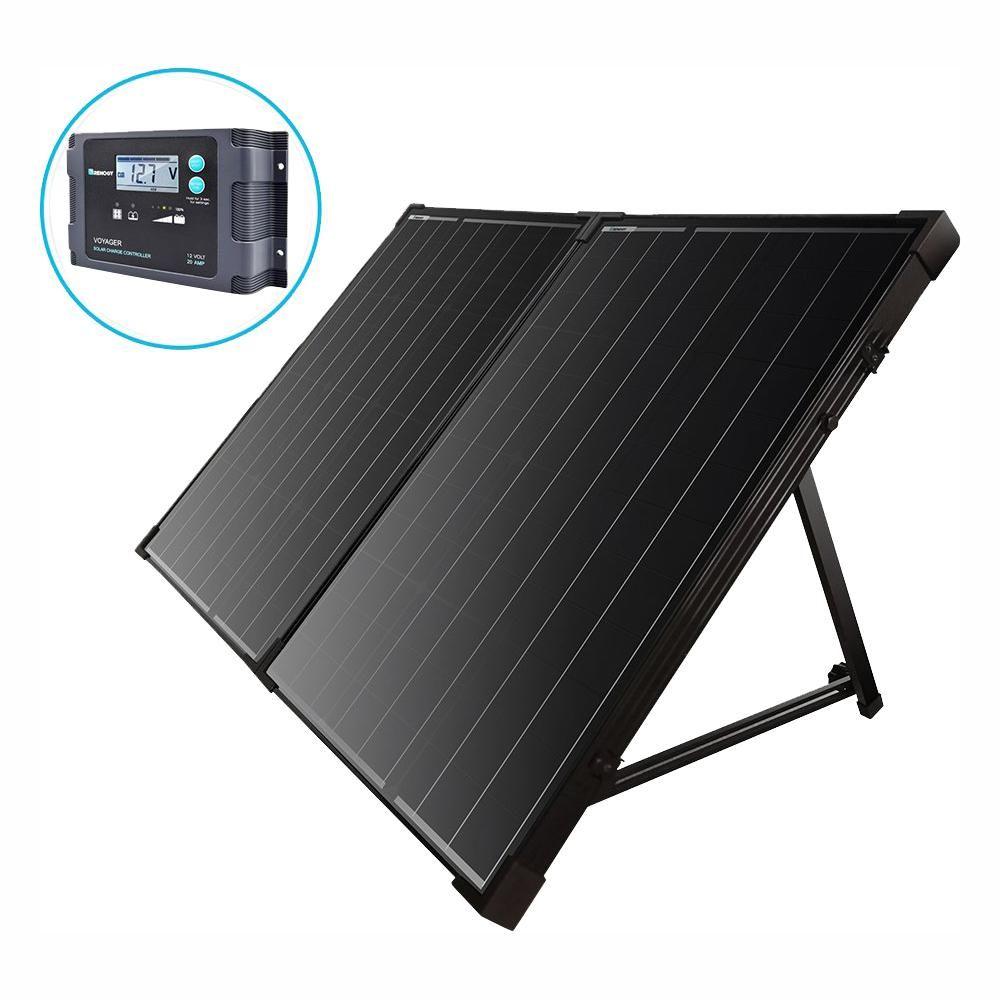Renogy 100 Watt 12 Volt Monocrystalline Foldable Suitcase Off Grid Solar Power Kit With Voyager Best Solar Panels Solar Power Kits Off Grid Solar Power