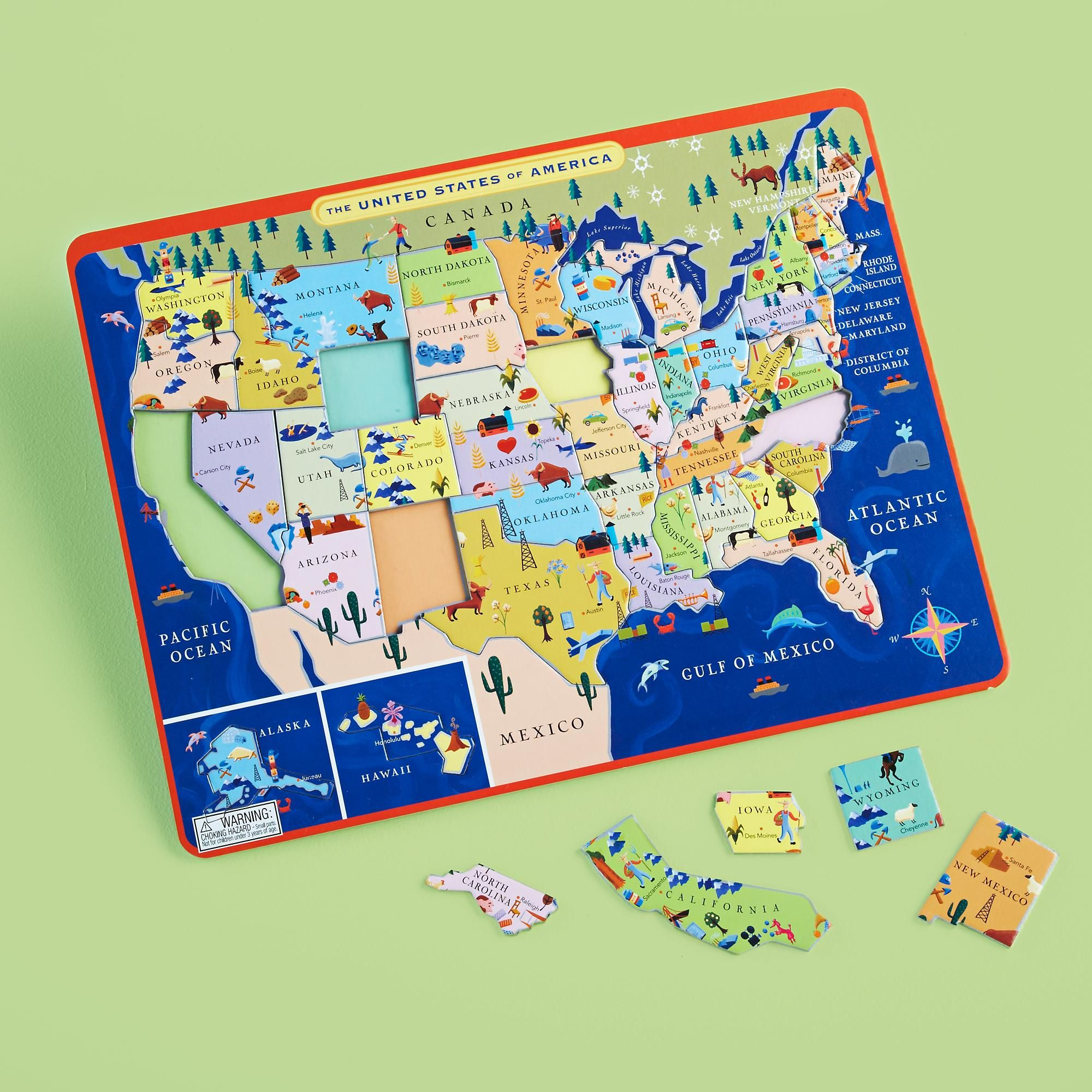 Kids Educational Puzzles Kids United States Map Puzzle in