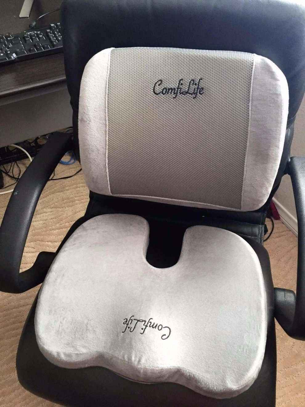 A memory foam seat cushion and lumbar pillow thatull make sitting