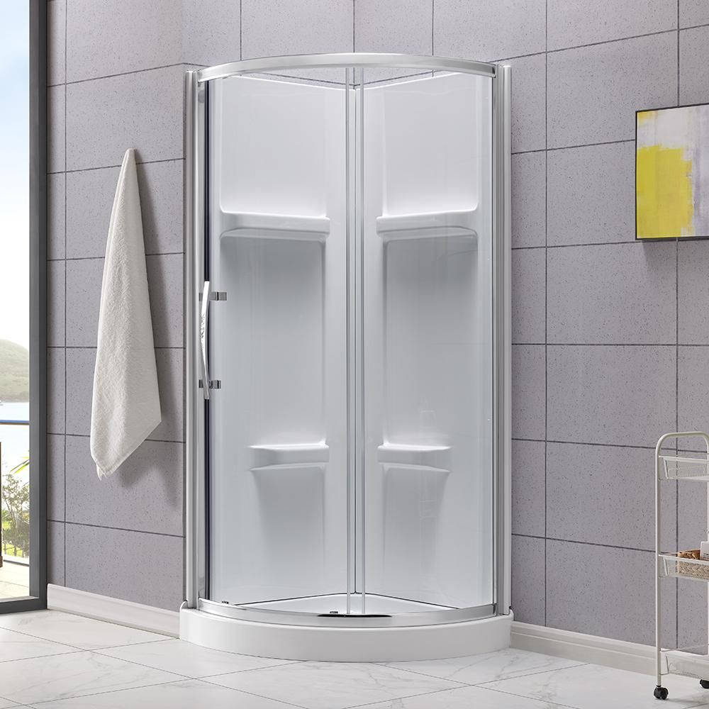Glacier Bay Maia 32 In X 79 50 In Corner Drain Corner Shower Kit