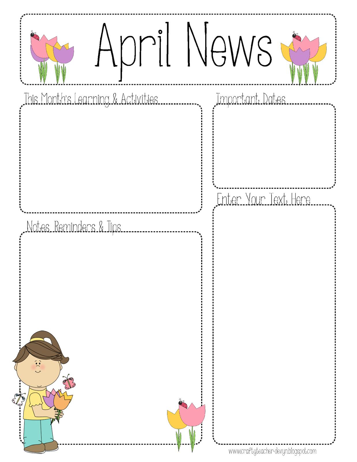 April Newsletter For All Grades