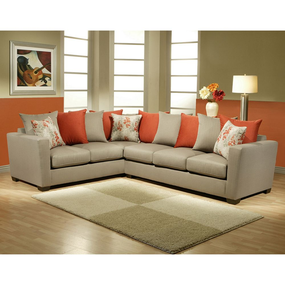 Gray And Burnt Orange Sectional