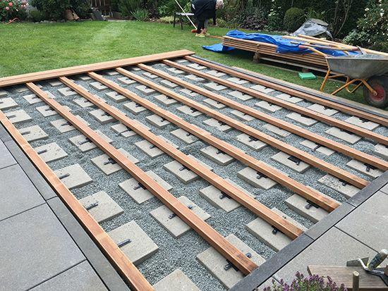 unterkonstruktion richtig verlegen beispiel holzart bangkirai terrasse terrassendiele. Black Bedroom Furniture Sets. Home Design Ideas