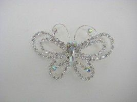 LARGE SILVER DIAMANTE BUTTERFLY BROOCH