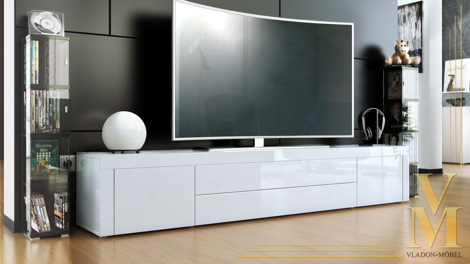 Tv Board 200 Cm Tv Stand Board Unit Lowboard Cabinet La Paz White High Gloss