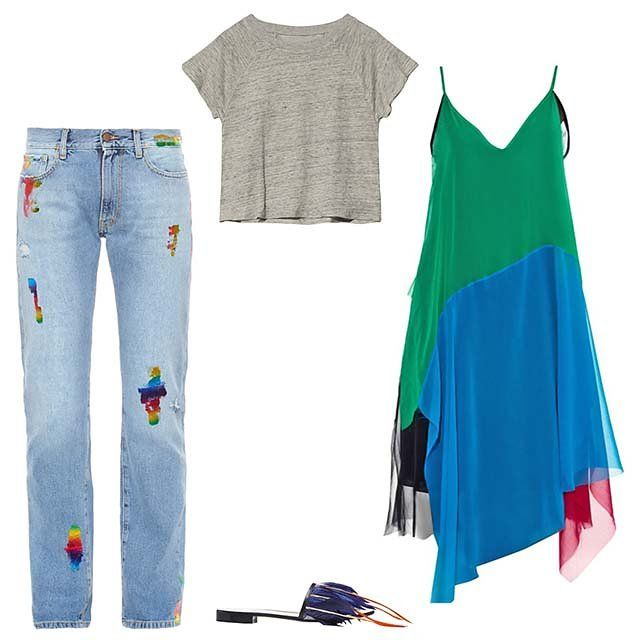 Aries Simon rainbow foil boyfriend jeans, $379; matchesfashion.com; Fine Collection linen crop tee, $91; otteny.com; Marques ' Almeida patchwork silk dress, $927; matchesfashion.com; MSGM flat leather slide sandal with feathers, $335; modaoperandi.com