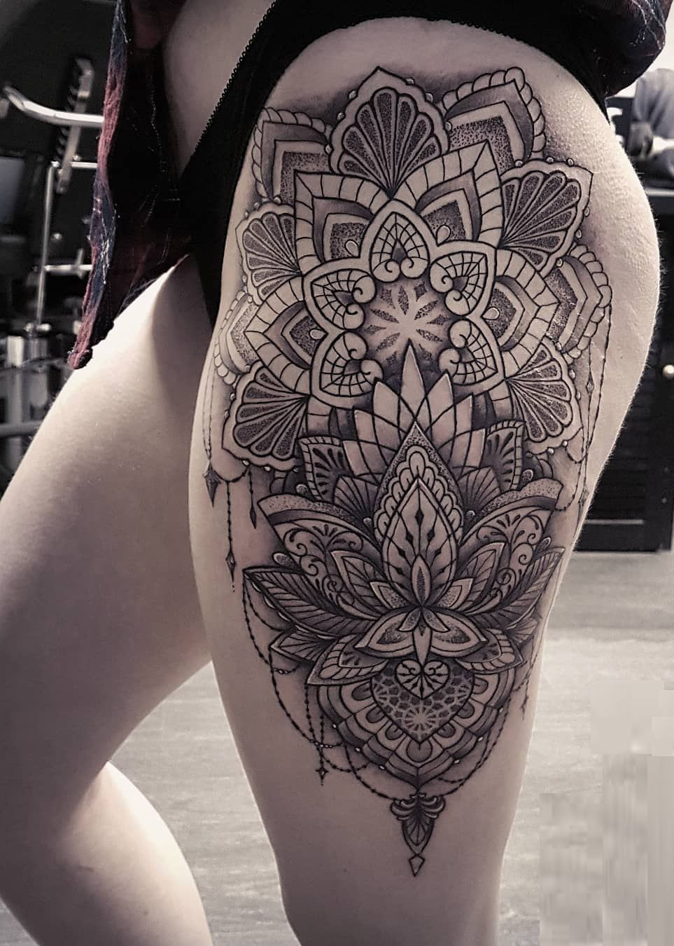 50 Meaningful And Beautiful Sun And Moon Tattoos Mandala Thigh Tattoo Lace Tattoo Mandala Hip Tattoo