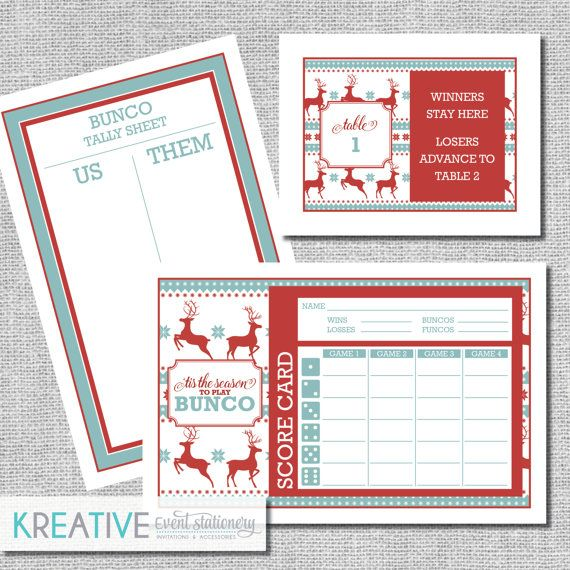 Christmas Bunco Score Card Set Ugly Sweater Tis By Kreativees