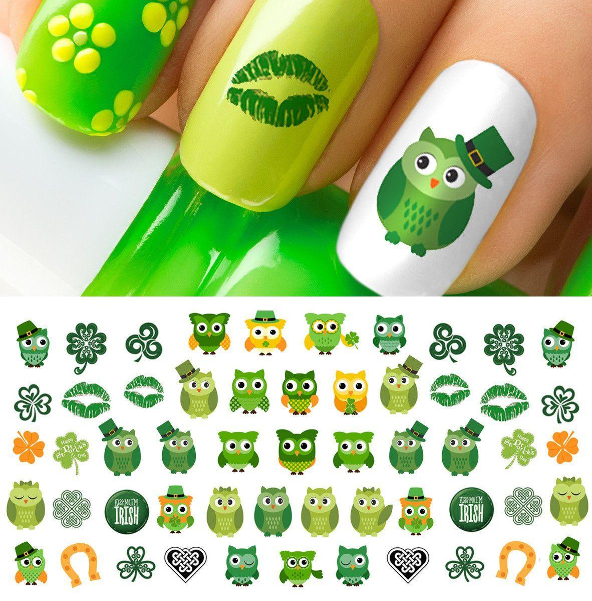 St. Patrick\'s Day Owls Nail Art Decals Set #4 | Owl nails, Nail ...