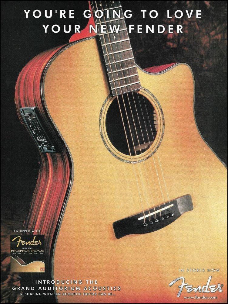 Fender Grand Auditorium Acoustic Guitar 2001 Ad 8 X 11 Advertisement Print Fender Guitar Fender Guitar Amps Guitar Strap Vintage
