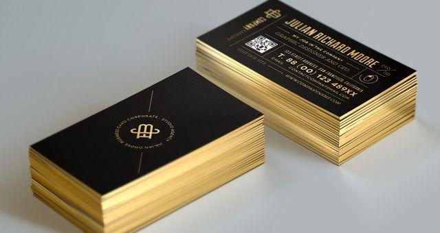 business card gold edge mockup psd free