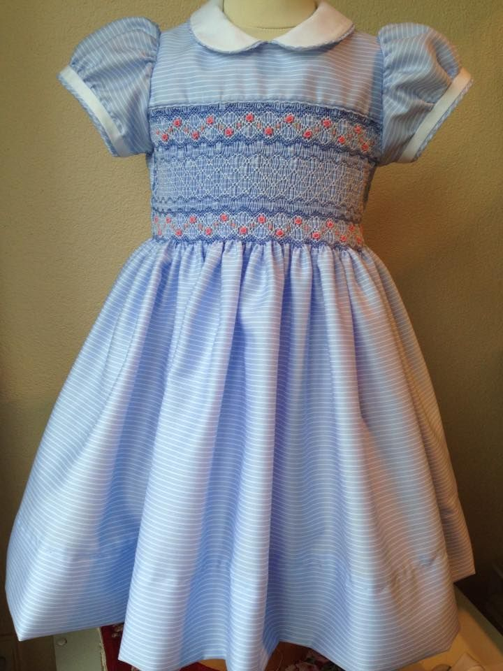 Smocking On Blue Stripe Fabric Very Nice With Images