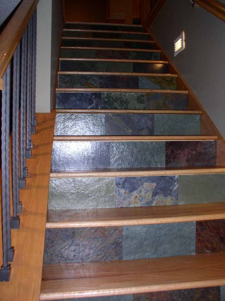 Granite Scraps To Decorate Stair Risers.