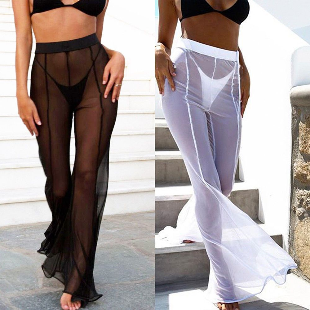 368ac94fd5 Women High Waist See Through Flared Leg Mesh Summer Beach Long Pants  Trousers