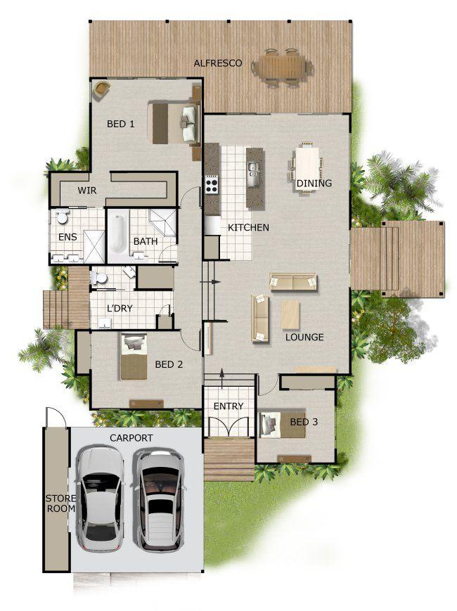 Split Level House Plan Large Deck Area 2 Bathrooms 2 Car
