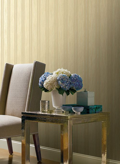 Threaded Stria Stripe Wallpaper in Beige and Green design by York Wallcoverings