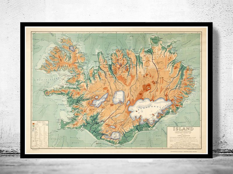 Old Map of Iceland islandia 1928 Vintage