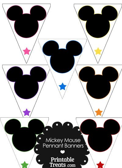 Mickey Mouse Head Pennant Banners from PrintableTreats.com ...