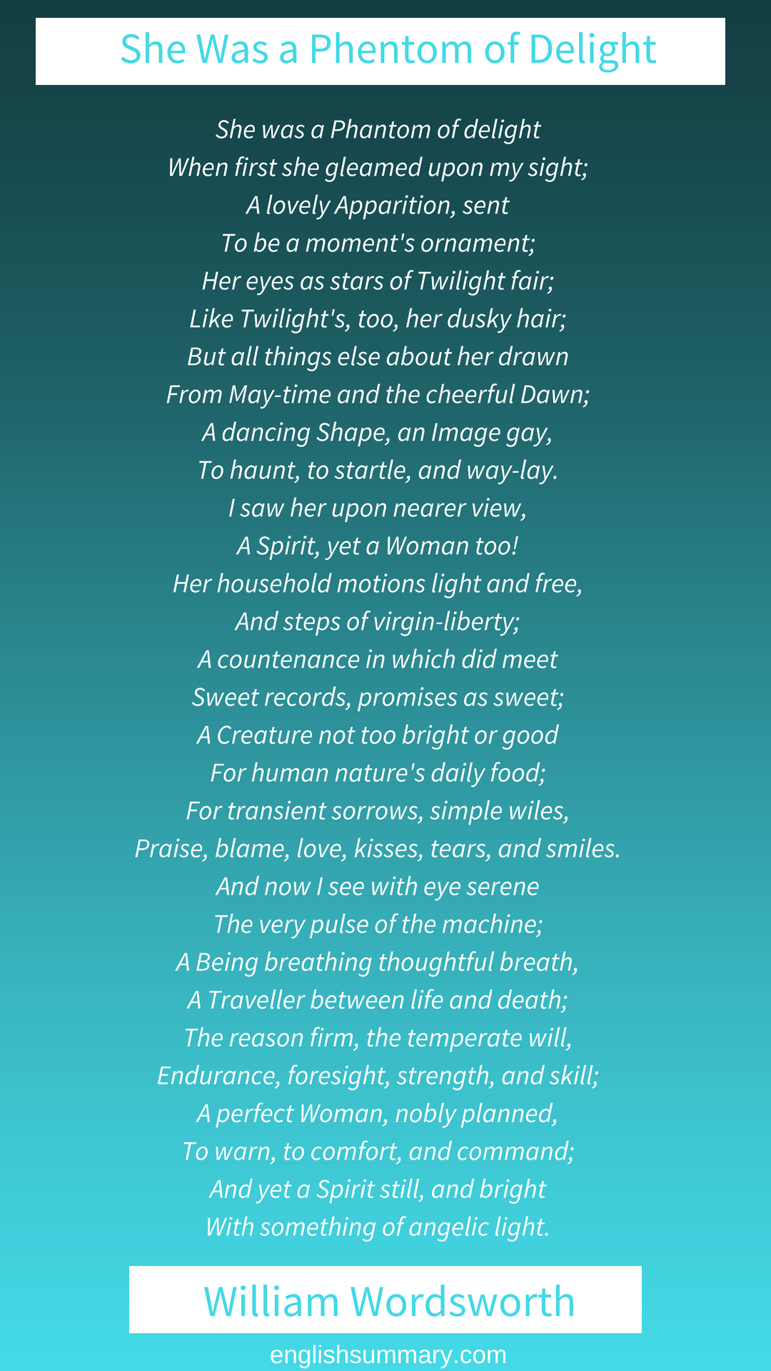 She Wa A Phantom Of Delight William Wordsworth Tagore Quote Beautiful Poetry Poems Mutability Paraphrase Analysi Summary