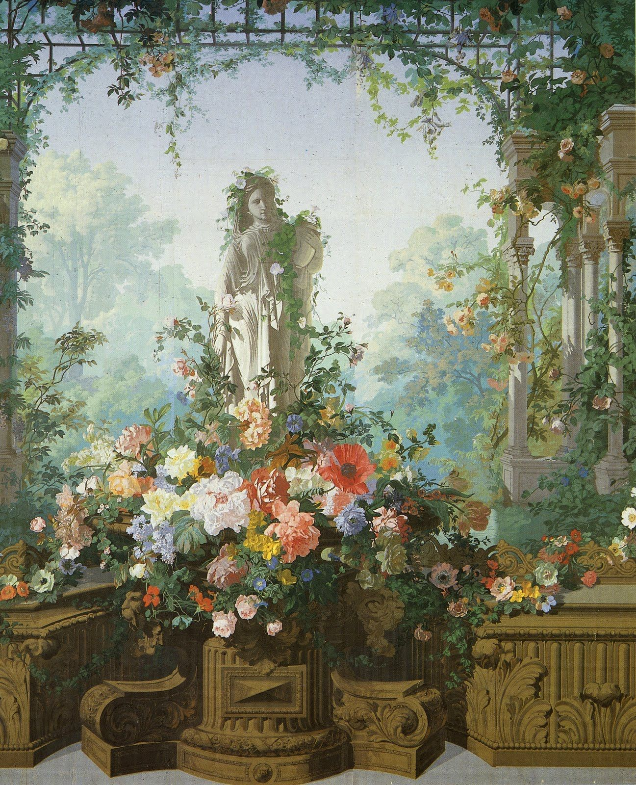 French wallpaper scenic wallpapers murals pinterest for Old french wallpaper